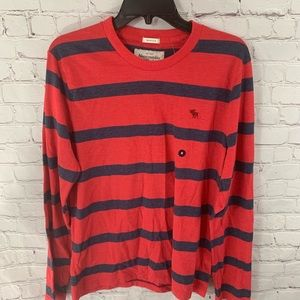 Abercrombie & Firtch Long Sleeve Red Striped Shirt